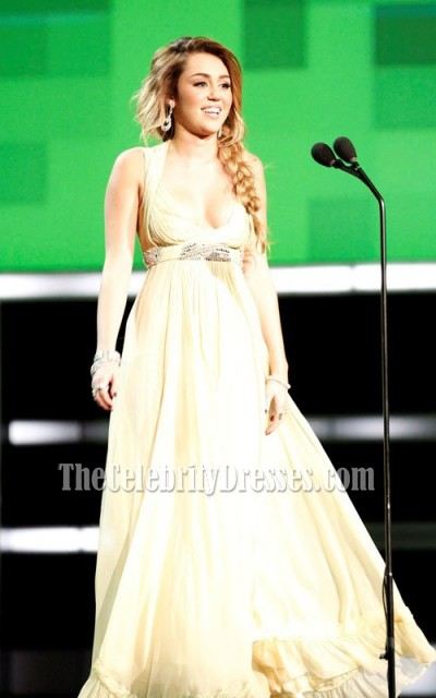 Celebrity Dresses Miley Cyrus Yellow Chiffon Prom Dress Formal Gown ...