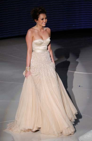 Miley Cyrus Wedding Dress.Miley Cyrus Champagne Formal Dress 82nd Oscar Awards Red Carpet Gown