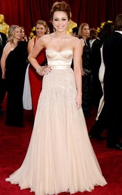 Miley Cyrus Champagne Formal Dress 82nd Oscar Awards Red