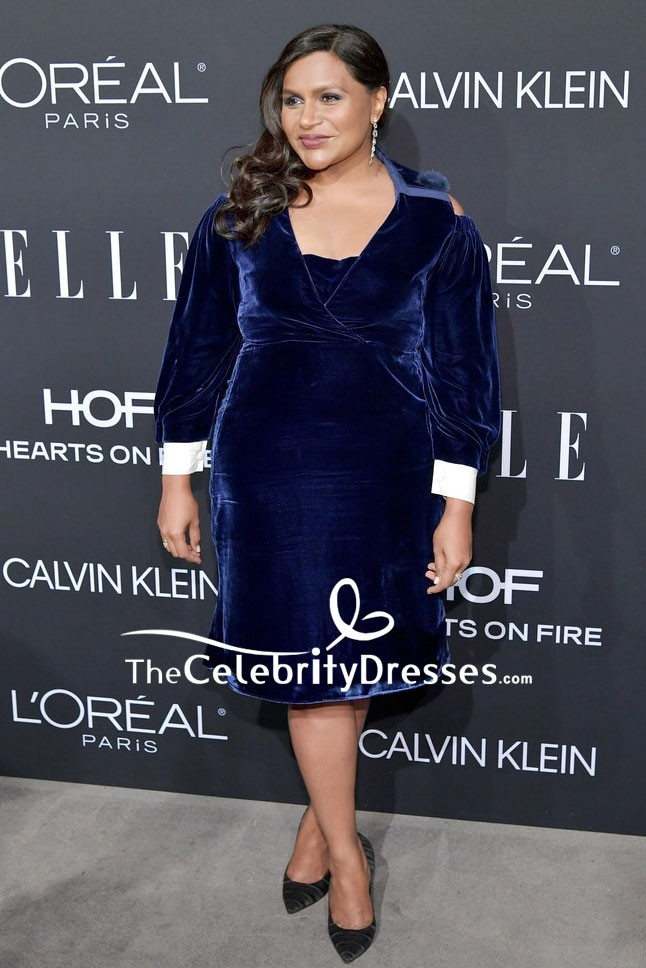 Mindy Kaling Navy Velvet Cocktail Dress With Sleeves 2018 Elle Women Thecelebritydresses