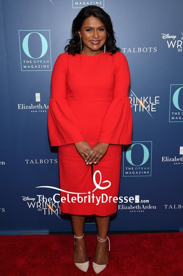 Mindy Kaling Red Cocktail Dress With Long Sleeves Nyc Screening Of A Wrinkle In Time Thecelebritydresses