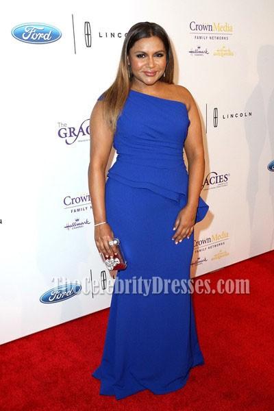Mindy Kaling Blue One Shoulder Evening Prom Dress 41st Annual Gracie Awards Gala Thecelebritydresses