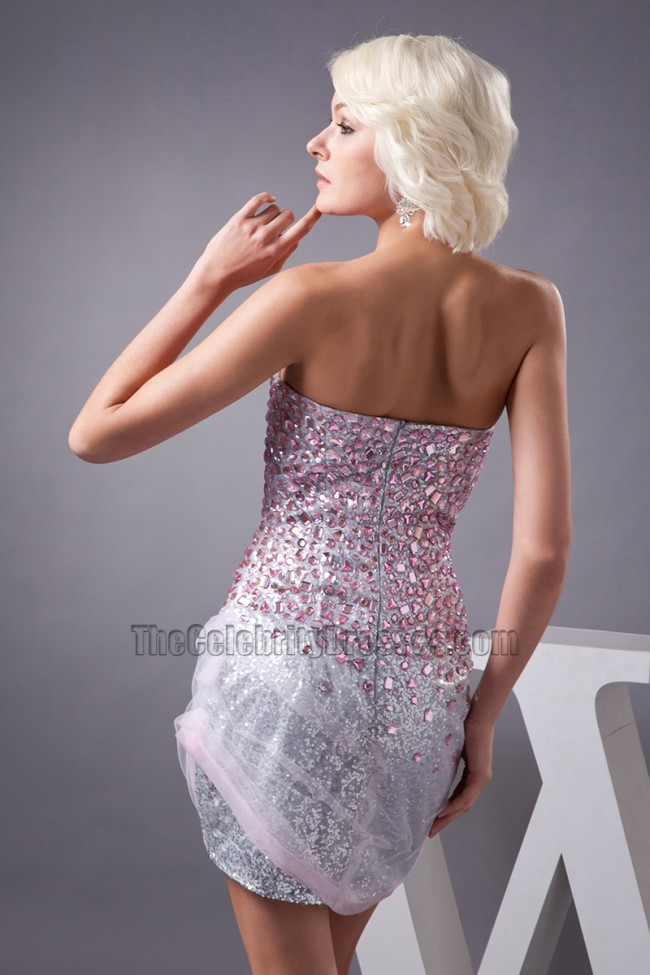 29930bb8 Mini Silver Sequins Strapless Beaded Party Homecoming Dress ...