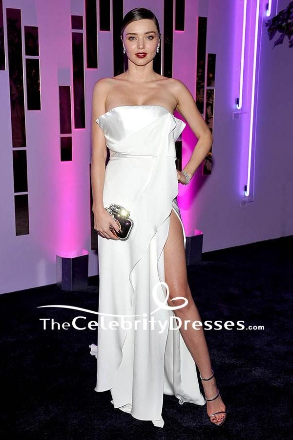miranda kerr ivory strapless thighhigh slit evening dress