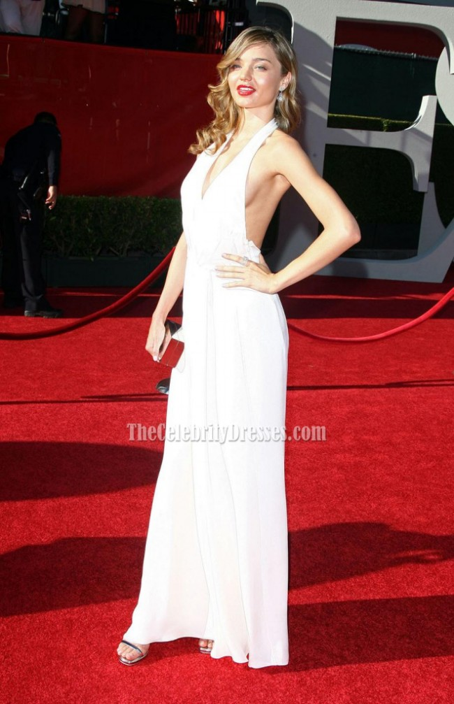 miranda kerr white halter prom dress 2009 espy awards red