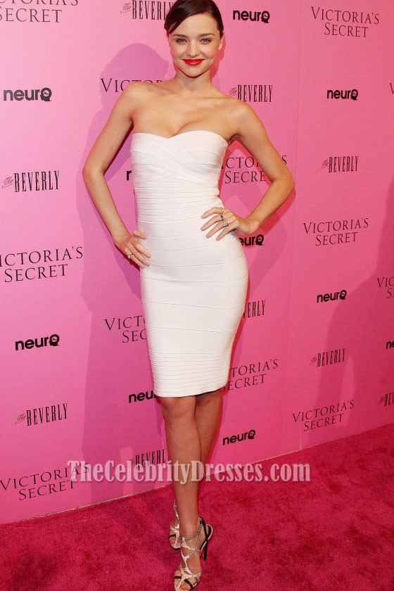 Miranda Kerr White Strapless Bandage Dress Cocktail