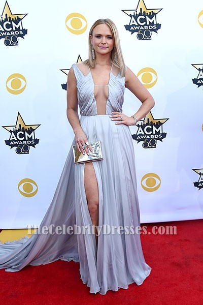 Miranda lambert sexy silver evening dress acms 2015 red carpet gown thecelebritydresses - Silver red carpet dresses ...