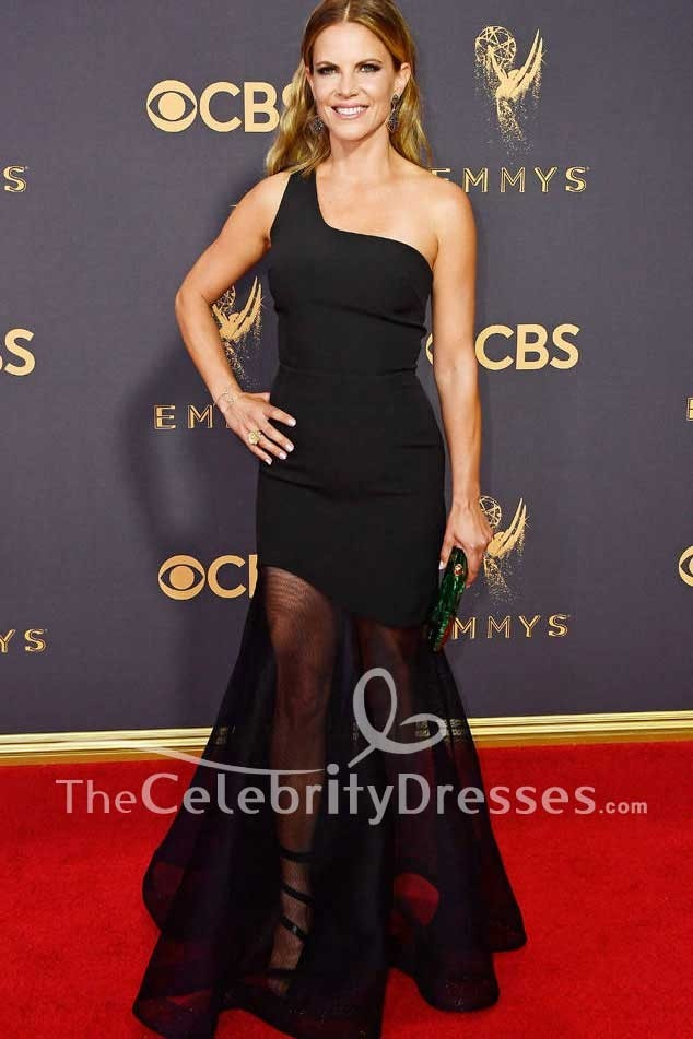 Natalie Morales Black One-shoulder Tulle Evening Prom Dress Emmy Awards  2017 Red Carpet 511928fc4
