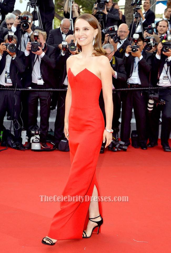 Natalie Portman Red Strapless Formal Dress Cannes Film