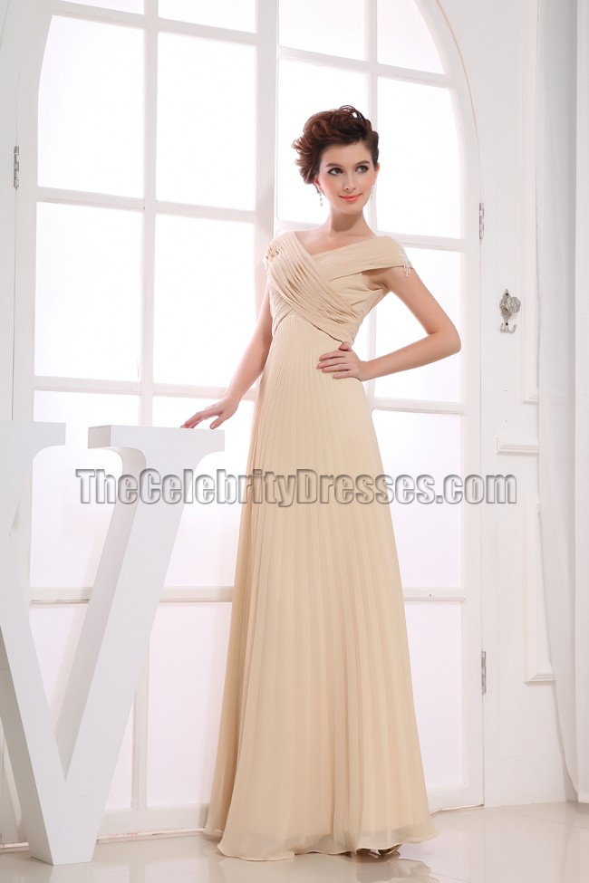 Off The Shoulder Champagne Prom Gowns Formal Dresses