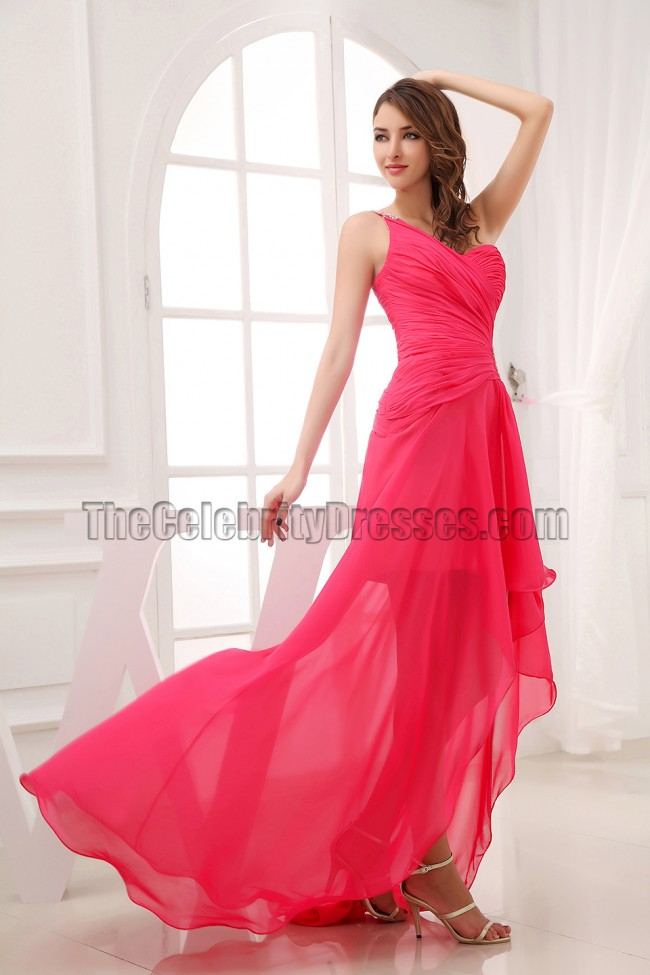 Hot Pink One Shoulder Cut Out Prom Dress Evening Gown ...