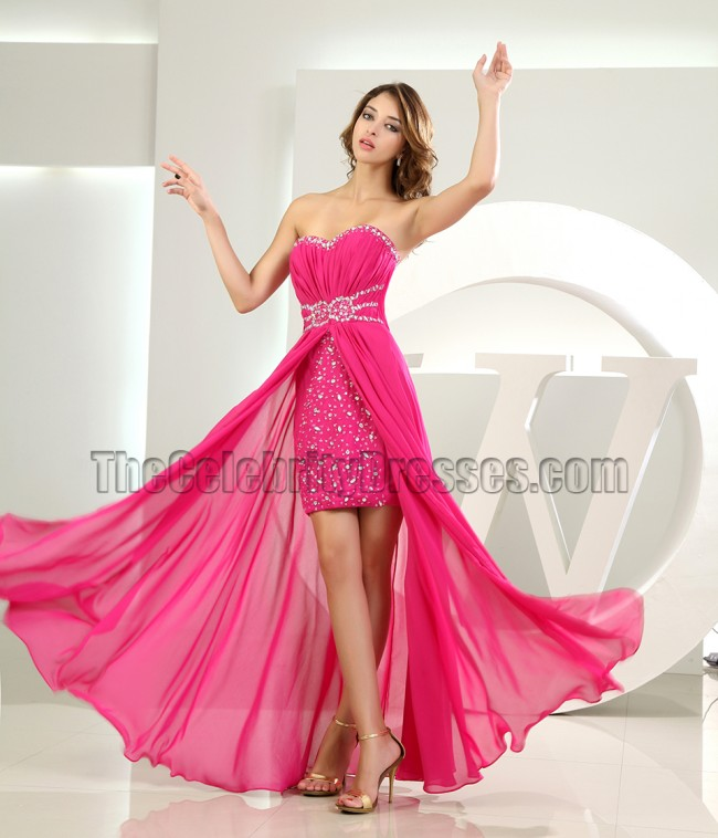 Fuchsia Beaded Strapless High Low Prom Dress Party Dresses ...