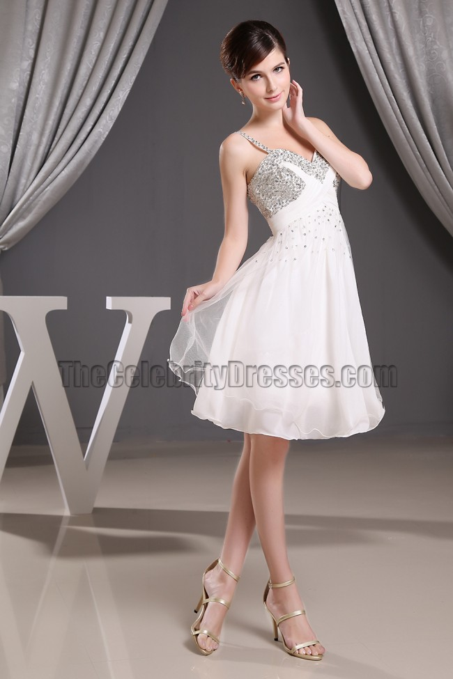 Beaded Short White Chiffon Party Dress Cocktail Homecoming Dresses ...