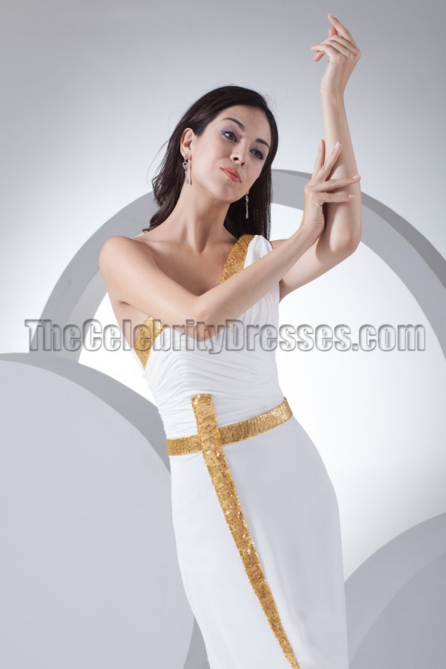New Style White One Shoulder Evening Dress Formal Gown