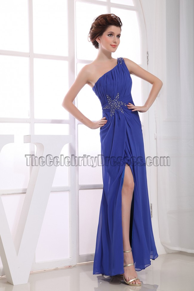 Discount Royal Blue One Shoulder Prom Bridesmaid Evening Dresses ...