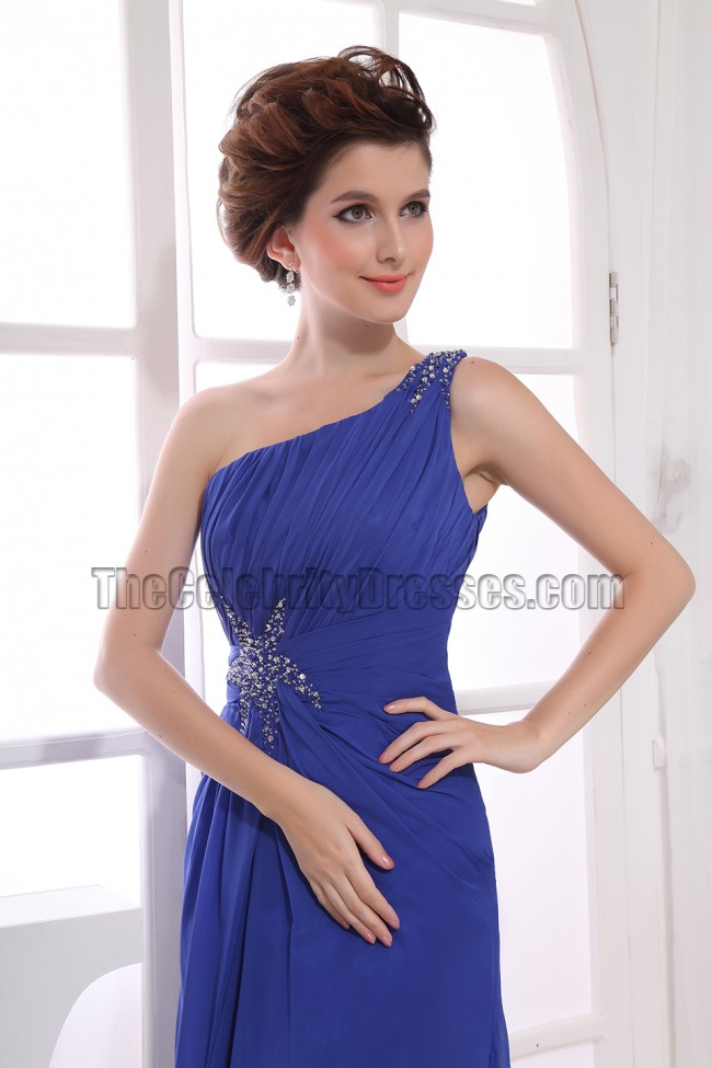 Discount Royal Blue One Shoulder Prom Bridesmaid Evening ...