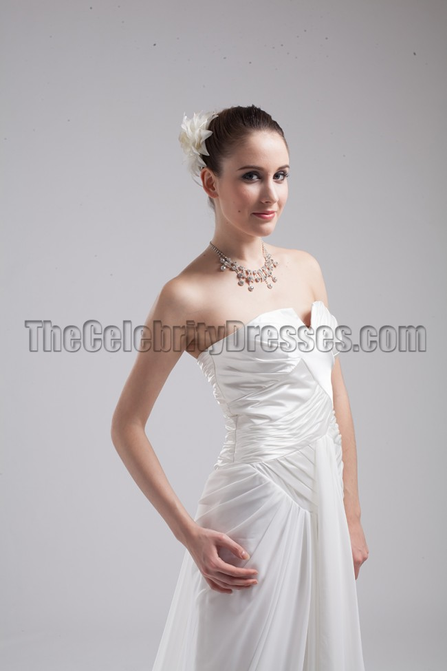 Celebrity Inspired Strapless Prom Gown Wedding Dress