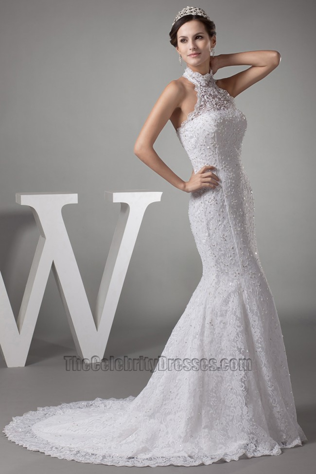 Trumpet /Mermaid Halter Lace Wedding Dresses - TheCelebrityDresses