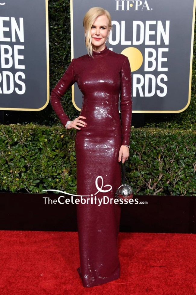 4415c1e4 Nicole Kidman Burgundy Sequined Column Dress 2019 Golden Globes Red Carpet