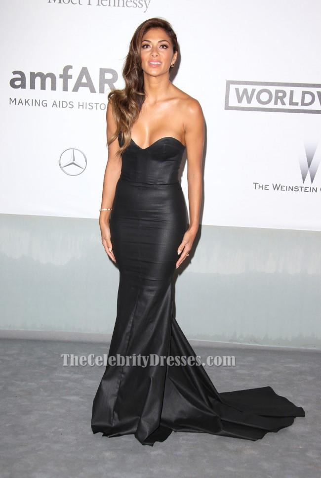 nicole scherzinger strapless black formal evening gown