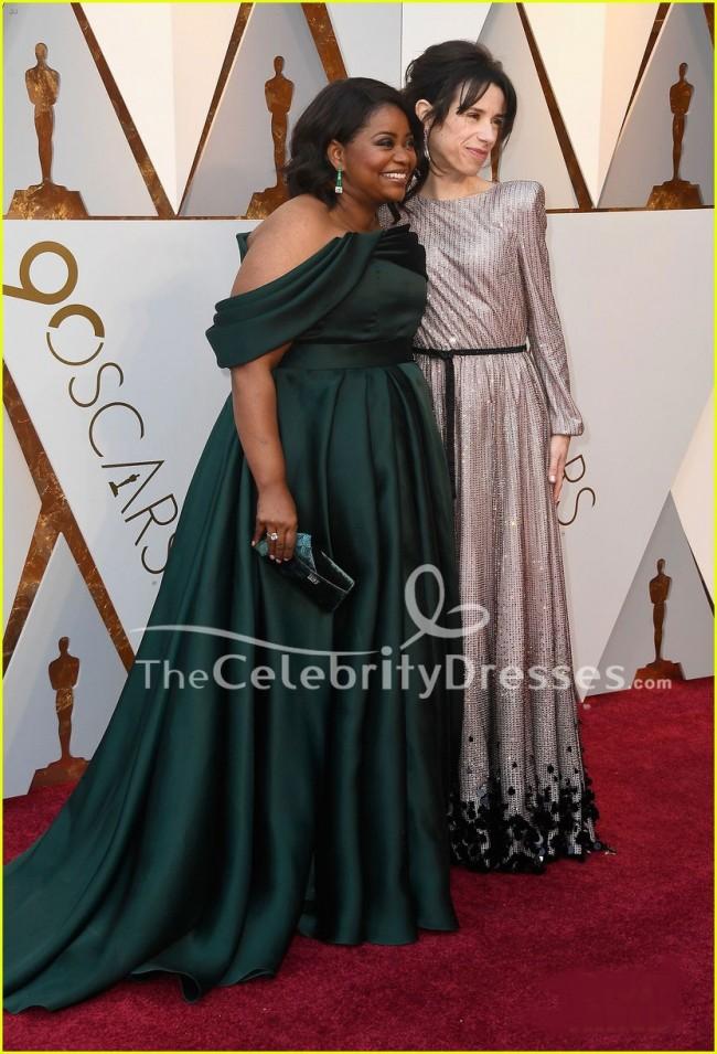 Octavia Spencer Dark Green Formal Dress 2018 Oscars Red