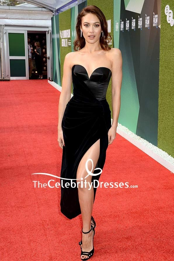 Olga Kurylenko Black Strapless Velvet Slip Dress Uk