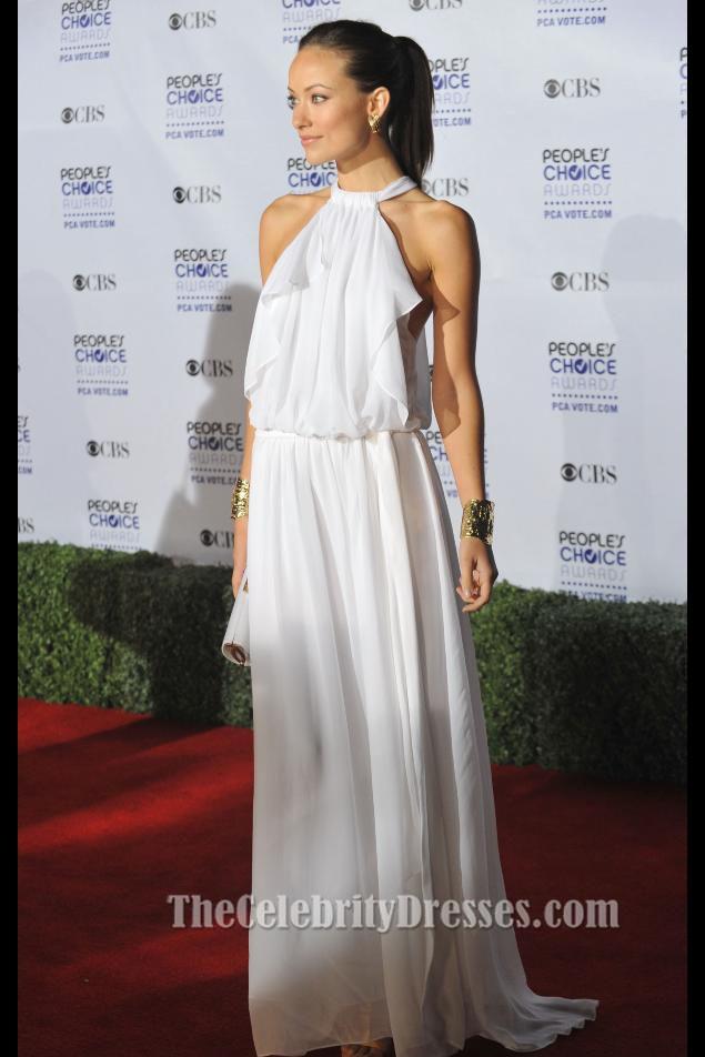 Olivia Wilde White Chiffon Evening Dress People S Choice