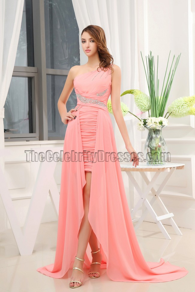 One Shoulder Chiffon High Low Prom Evening Dresses - TheCelebrityDresses