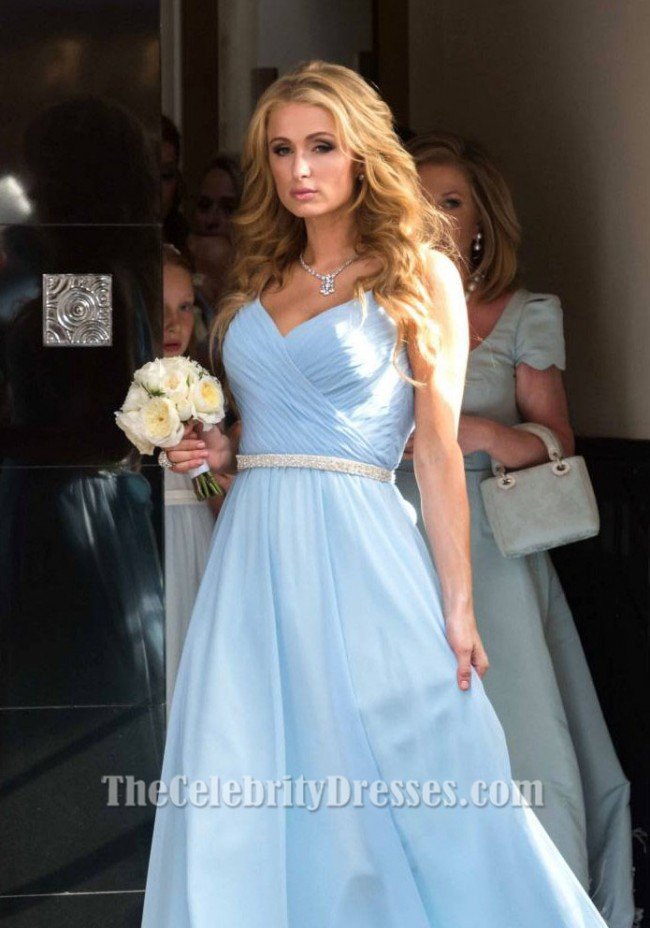 Paris Hilton Sky Blue Evening Bridesmaid Dress On Nicky S Wedding
