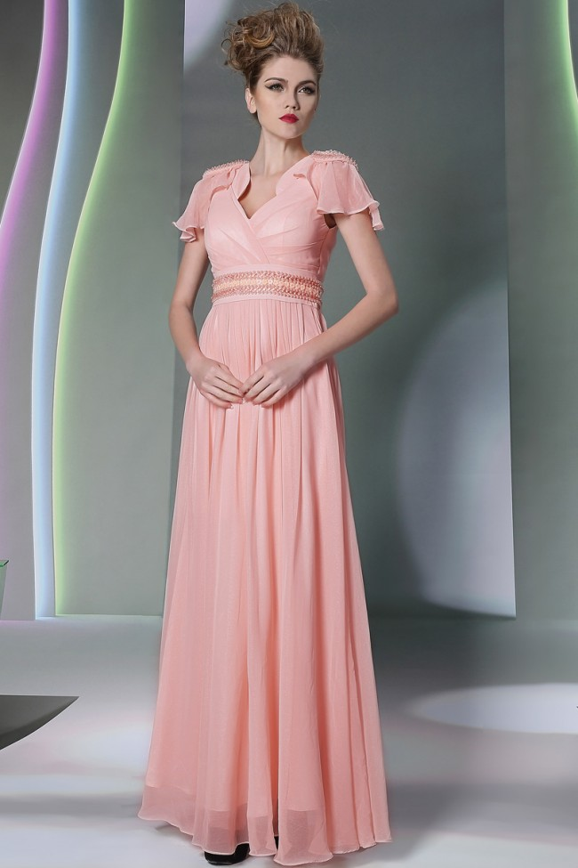 Pearl Pink Cap Sleeves Cut Out Beaded Formal Evening Dresses ...