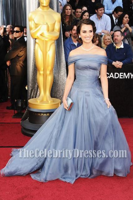 Penelope Cruz Blue Off The Shoulder Formal Dress 2012