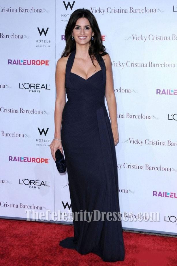 Penelope Cruz Dark Navy Evening Dress Vicky Cristina