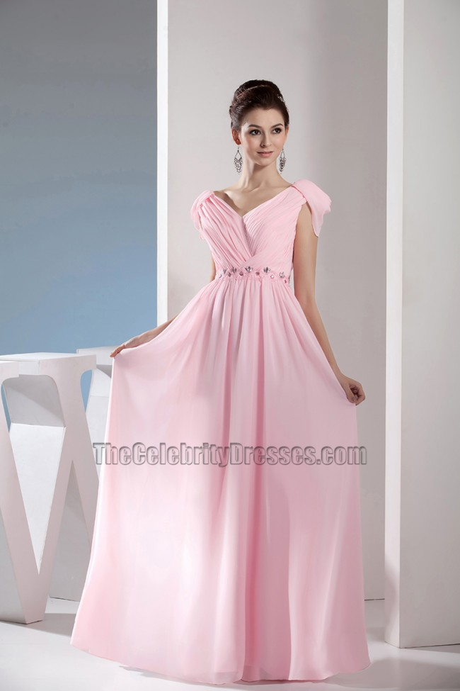 Pink Chiffon Floor Length Prom Gown Evening Bridesmaid Dresses ...