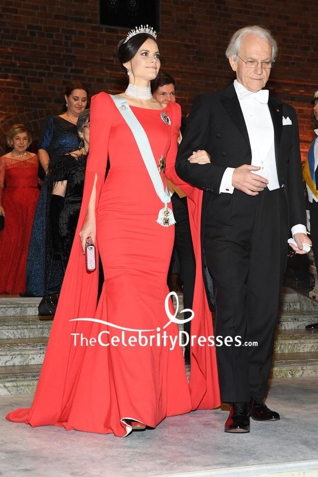 Princess Sofia Of Sweden Red Mermaid Evening Dress Nobel