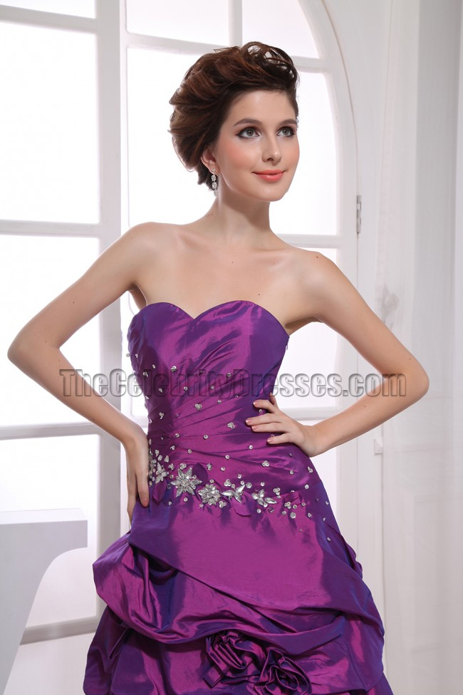 high low purple strapless prom dress formal gown