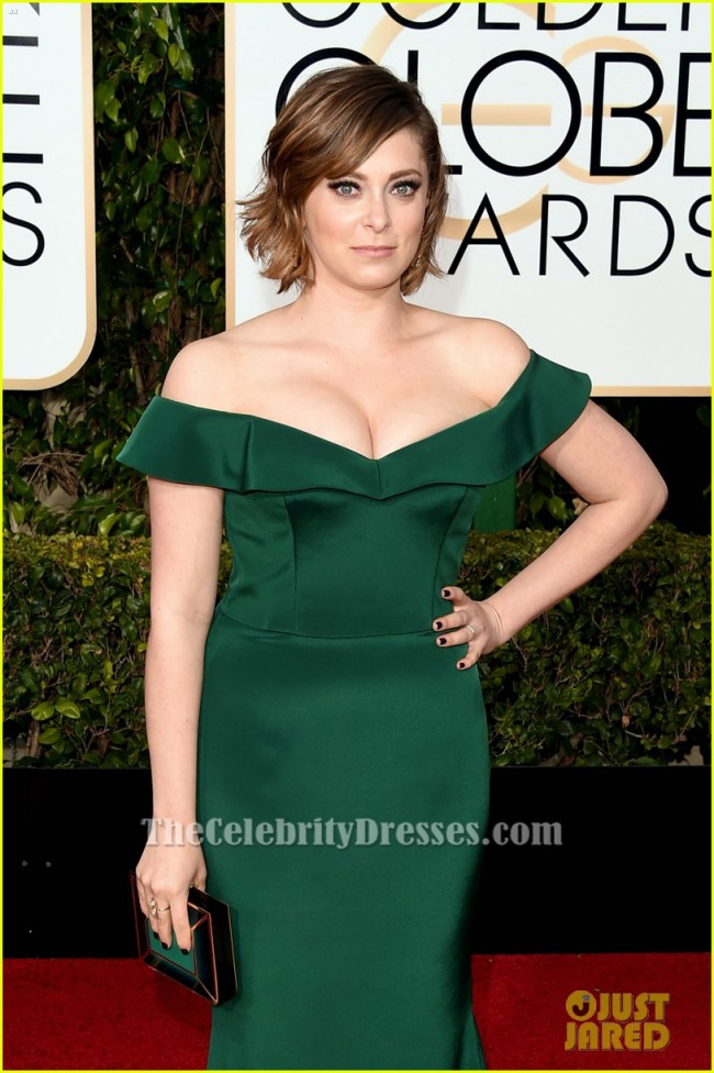 Rachel Bloom Dark Green Off The Shoulder Formal Dress