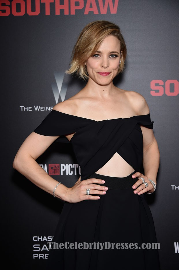 Rachel Mcadams Black Off Shoulder Cocktail Evening Dress