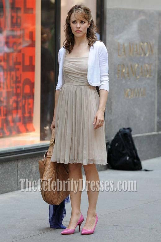 Rachel Mcadams Champagne Halter Dress In Morning Glory