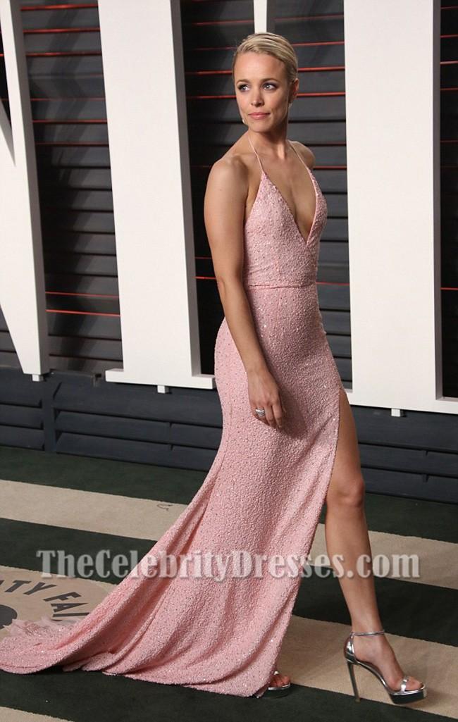 Rachel Mcadams Sexy Pink Sequined Evening Dress vanity ...