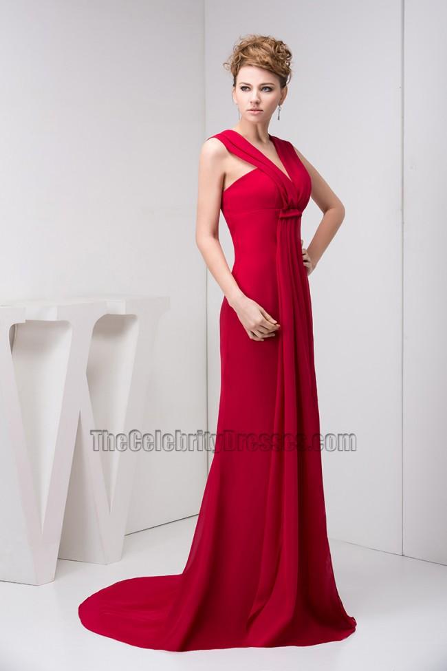 Red Halter V Neck Chiffon Prom Dress Evening Formal Gown