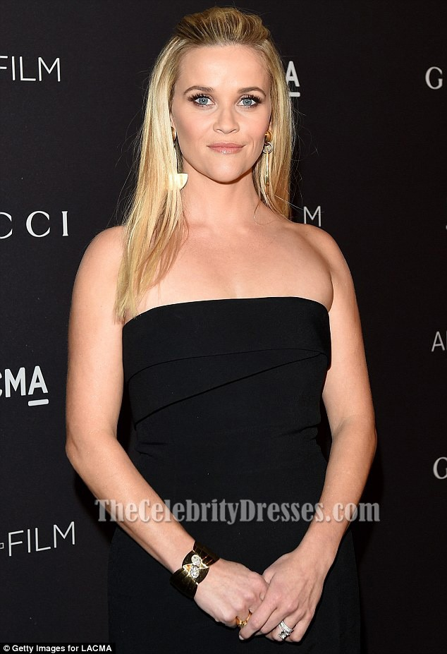 Reese Witherspoon Black Strapless Evening Gown Lacma 2015