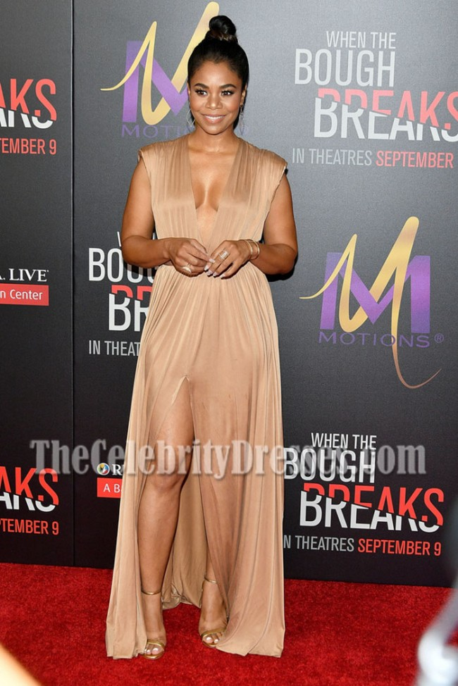 069281963c4 Regina Hall Nude Deep V-neck Slit Evening Prom Gown Premiere When the Bough  Breaks