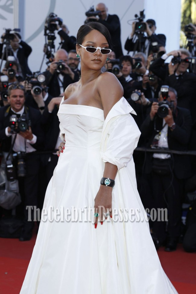 Rihanna 2017 Cannes Film Festival Okja Premiere Ivory Coat Ball Gown ...