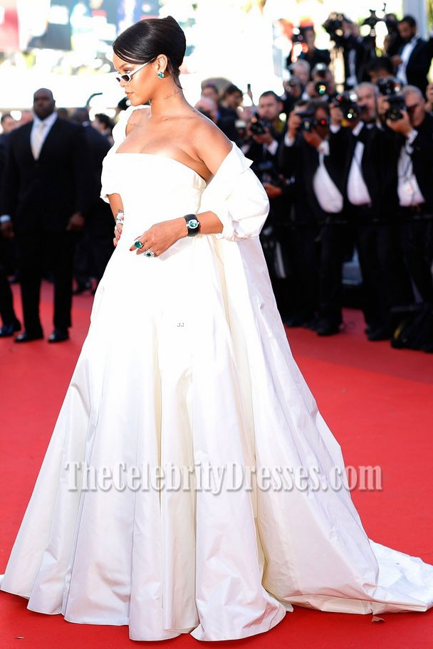 Rihanna 2017 Cannes Film Festival Okja Premiere Ivory Coat Ball Gown Thecelebritydresses