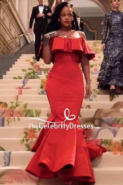 rihanna red offtheshoulder mermaid evening dress in