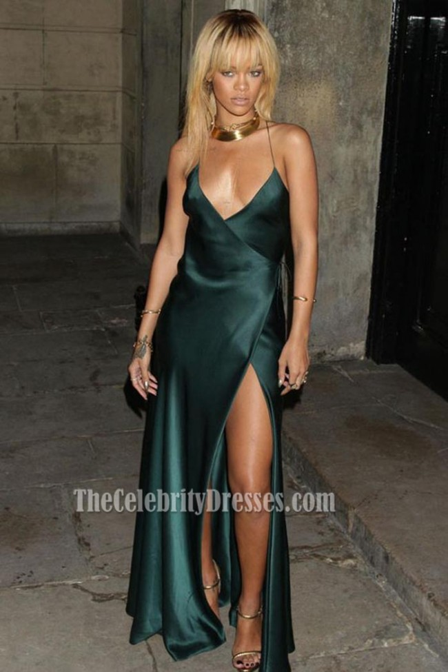 67319f03198b Rihanna Sexy Deep V-neck Evening Prom Gown Backless Sexy Celebrity ...