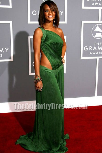 8094f5dbf7f Rihanna Green Cut Out Prom Gown Formal Evening Dresses Grammy Red Carpet