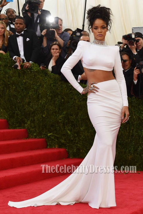 Rihanna White Evening Dress