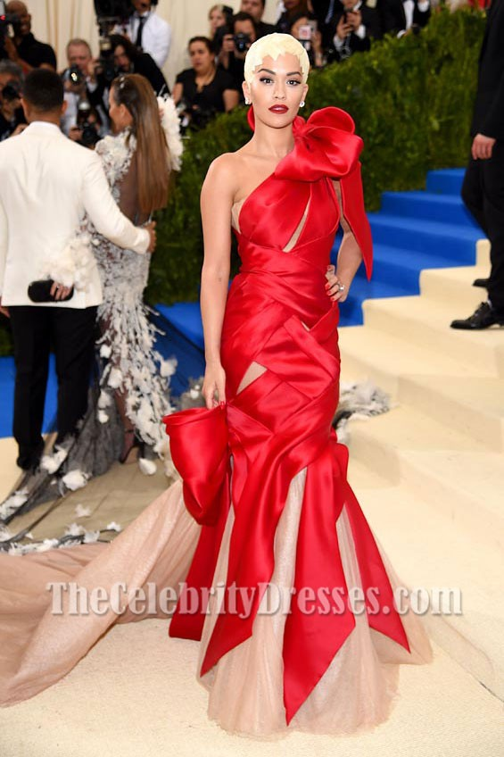 Rita Ora Red And Nude Cut Out One Shoulder Evening Ball Gown 2017 ...