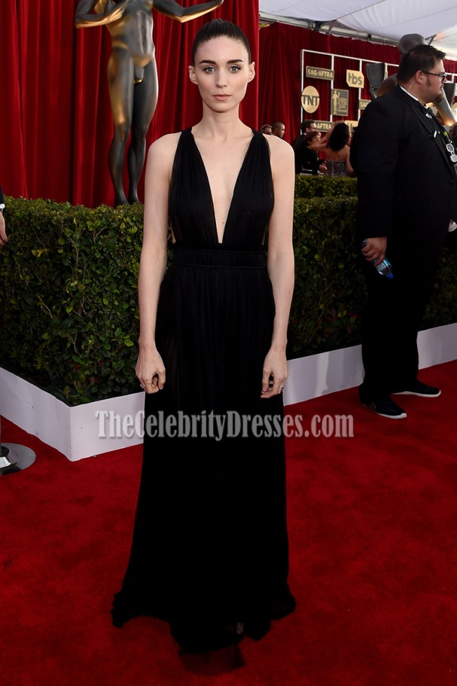 Rooney Mara Black Deep V Red Carpet Eveningprom Gown Sag